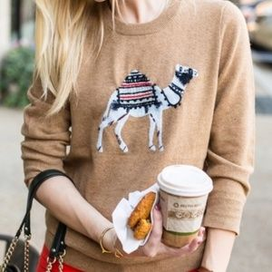 <J CREW> Camel Embroidered Sweater